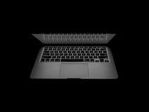 新的Macbook赞成与在黑暗的视网膜 免版税库存照片