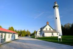 新的Presque小岛灯塔,在1870年修造 库存图片