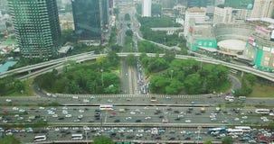 新的Semanggi桥梁风景在高峰时间 股票视频