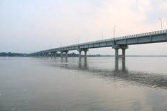 新的Tista桥梁Mohipur在孟加拉国的最大的Tista河的Ghat Rangpur 库存照片