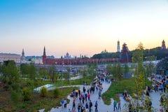 新的Zaryadye公园在莫斯科的中心 库存照片