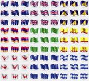 新的Zeland,团结的Kindom,托克劳,亚美尼亚,毛里塔尼亚,楚瓦什共和国,复活节Rapa Nui,欧盟,洪都拉斯 大套81面旗子 库存例证