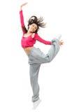 新相当现代微小节律唱诵的音乐样式舞蹈家十几岁的女孩跳跃 免版税库存照片