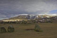 新石器时代的岩石在Cumbria 免版税库存图片