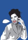 新移动电话联系的妇女 图库摄影
