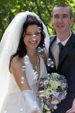 新结婚的夫妇 库存照片