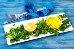 新绿色,沙拉,橄榄油,饮食营养的柠檬概念 免版税库存图片