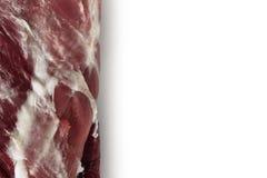 新羊羔腿的未加工的零件,隔绝在白色 复制空间 免版税库存图片