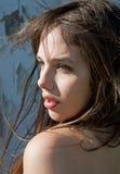 新美丽的吹的头发模型的风 库存图片