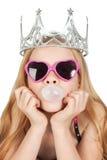 新美丽的吹的泡影女孩的玻璃 图库摄影