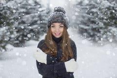 新美丽的女孩冬天纵向 免版税库存图片