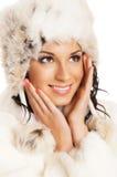 新美丽的女孩纵向冬天样式的 免版税库存图片