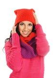 新美丽的女孩纵向冬天样式的 库存照片