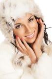 新美丽的女孩纵向在冬天穿衣 库存图片