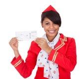 新美丽的空中小姐纵向  免版税图库摄影