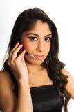新美丽的耳机的妇女 免版税库存照片