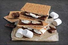 新自创smores用蛋白软糖、巧克力和全麦饼干 免版税库存照片