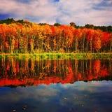 新英格兰,在秋天期间的湖巴西莱 库存照片