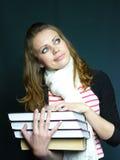 新蓝眼睛的学员的课本 库存照片