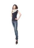 新蓝色冷静女孩的牛仔裤 免版税库存图片