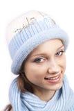 新蓝色焰晕微笑的妇女 库存图片
