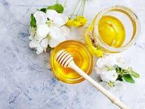 新蜂蜜营养,可口开花的樱桃鲜美葡萄酒,在灰色具体背景的菊花 库存照片