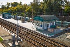 新西伯利亚市中心的火车站 西伯利亚,俄国 免版税库存图片