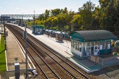 新西伯利亚市中心的火车站 西伯利亚,俄国 库存照片