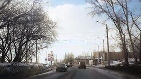 新西伯利亚,俄罗斯, 28有早期的春天的行军2015肮脏的路在慢动作 1920x1080 股票录像