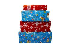 新西伯利亚,俄罗斯- 2017年12月15日:一套在白色背景的礼物盒 背景能圣诞节使用的例证主题 免版税库存照片