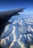 新西兰的南阿尔卑斯山鸟瞰图在春天 免版税库存照片