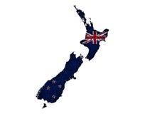 新西兰的地图和旗子罂粟种子的, 免版税图库摄影