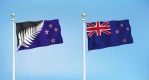 新西兰的新和老旗子 向量 免版税库存照片