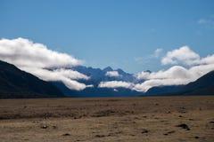 新西兰雪山和草原风景风景  免版税库存照片