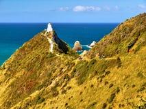 新西兰,风景沿海风景,灯塔 库存图片