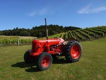 新西兰: 有红色拖拉机的h葡萄园 免版税库存图片