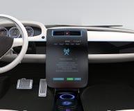 更新车软件接触汽车中央控制台 库存图片