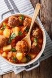新近地做的蕃茄汤用丸子和菜特写镜头 免版税图库摄影