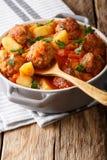 新近地做的蕃茄汤用丸子和菜特写镜头 库存图片