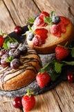 新近地烘烤两个蛋糕用巧克力,薄菏,草莓,樱桃 库存图片