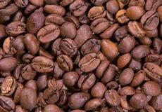 新近地烤咖啡豆,阿拉伯咖啡,饱满,混合,宏观照片 库存照片