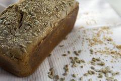 新近地煮熟的在家做的面包,与芝麻籽和向日葵 免版税库存图片