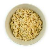 新近地煮熟的糙米顶上的看法  免版税库存图片