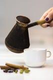 新近地煮的咖啡调味用桂香和豆蔻果实 免版税库存照片