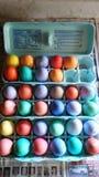 新近地色的复活节彩蛋 免版税库存图片
