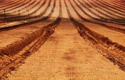 新近地被犁的农田 库存图片