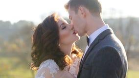 新郎亲吻新娘在公园在的日落 股票视频