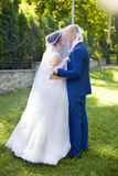 新郎亲吻面颊的新娘 免版税库存照片