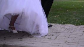 新郎和新娘举行手和步行 影视素材