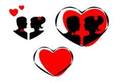 新郎和新娘剪影在心脏 被设置的图标 向量 免版税图库摄影